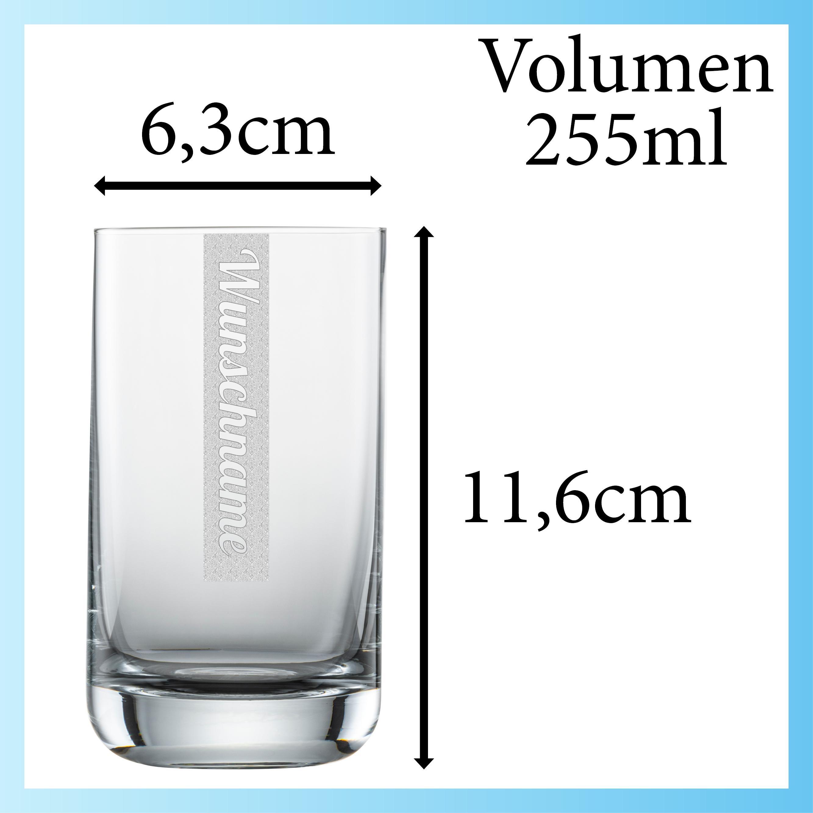 NAMEN Wasserglas mit Wunschtext | Schott 255ml Trinkglas | Gravur